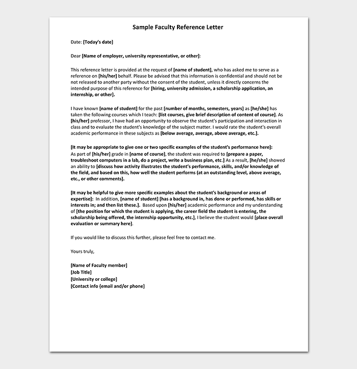 Faculty Reference Letter