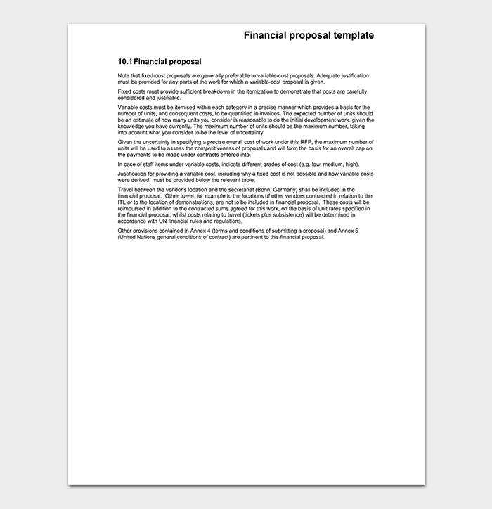 financial proposal contract