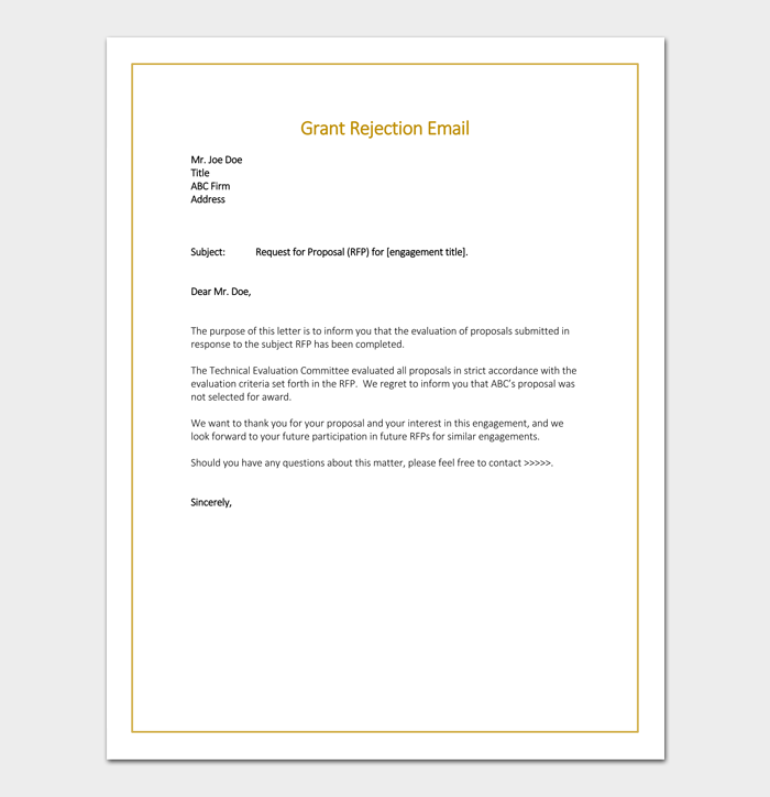 Grant Rejection Email Sample