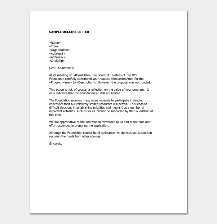 Grant rejection letter samples examples formats grant request rejection example spiritdancerdesigns Image collections
