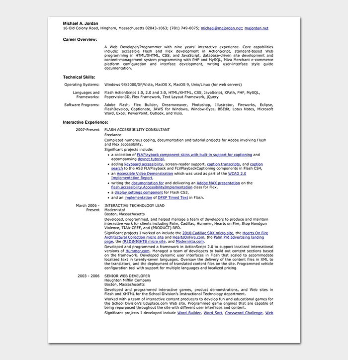 HTML Web Developer Resume