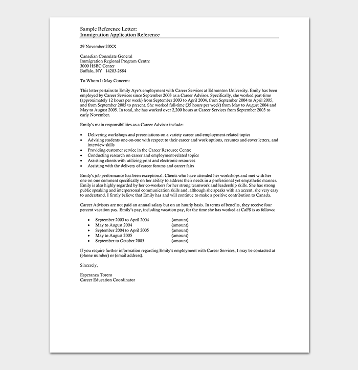 Immigration Reference Letter