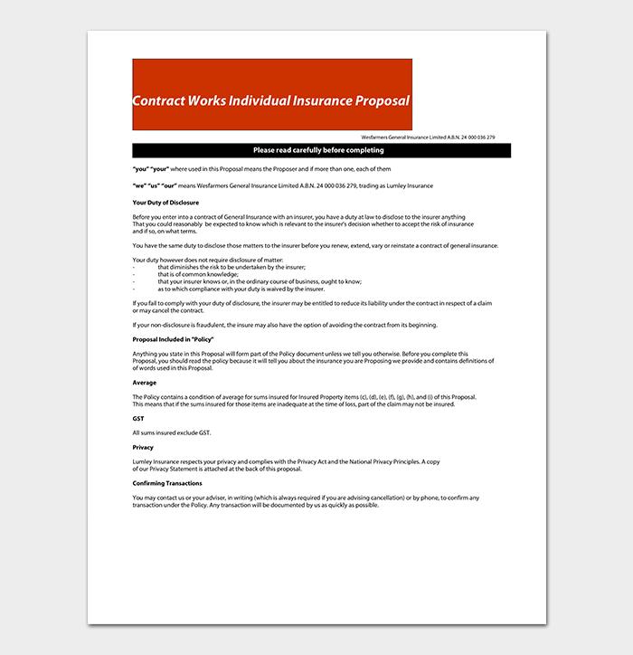 Individual Proposal Contract