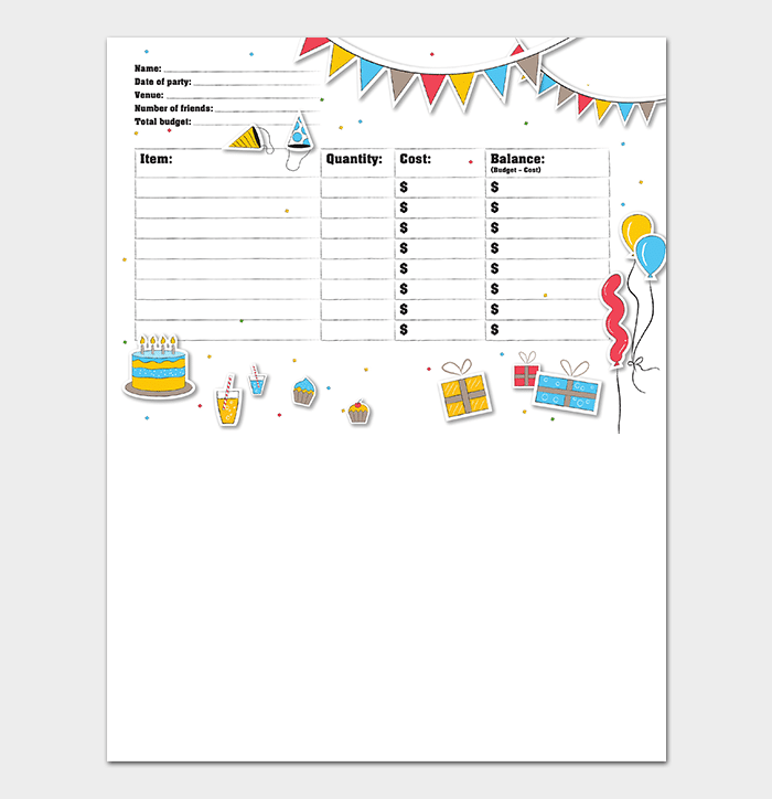Party Event Budget Template