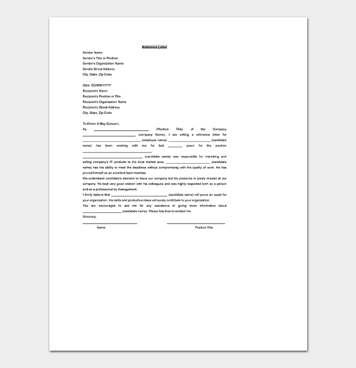 Printable Reference Letter