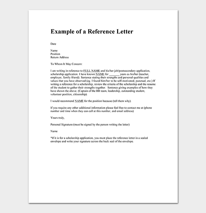 Reference Letter Template Example