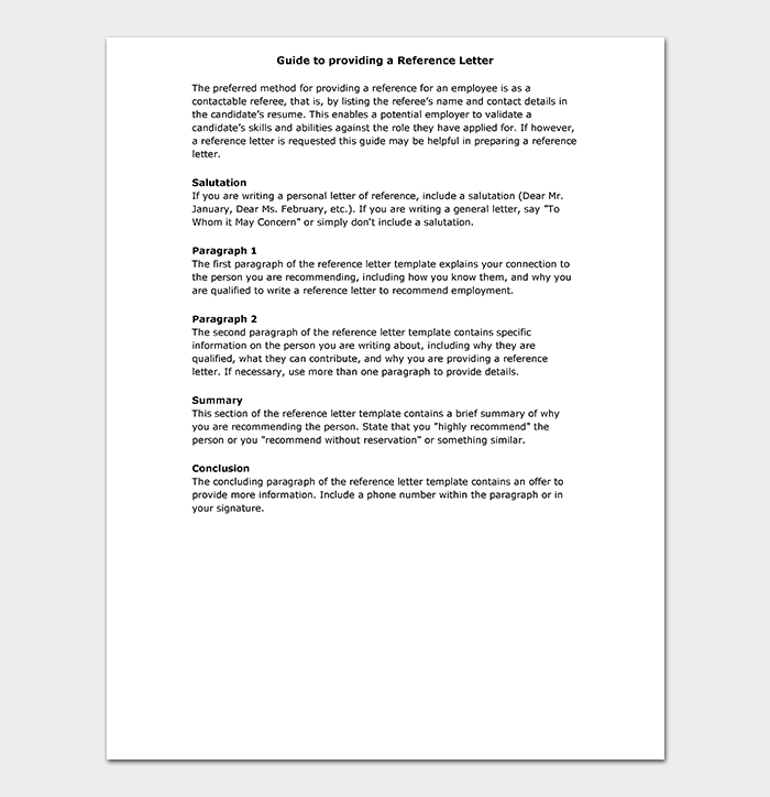 Guide For Providing A Reference Letter. Reference Letter Template Guide