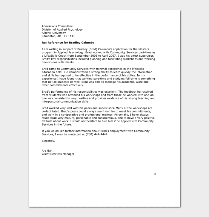 volunteer reference letter