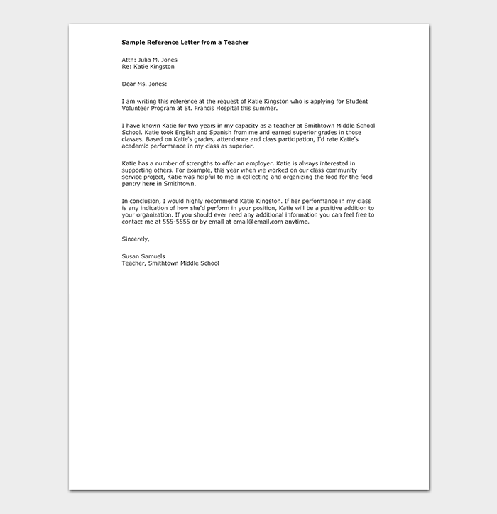 Teacher Reference Letter