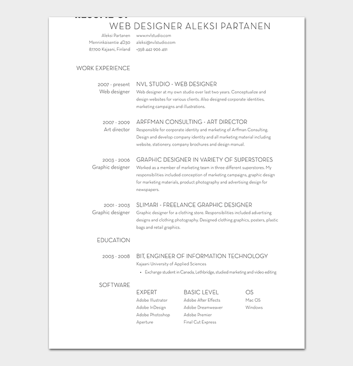 Web Designer And Developer Resume 17 Samples Examples