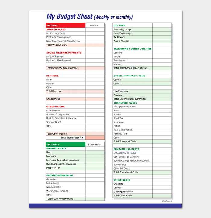 Weekly Household Budget Template