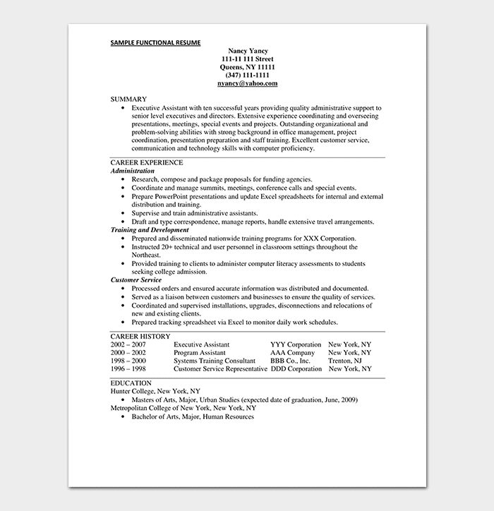 Administrative Assistant Chronological Resume