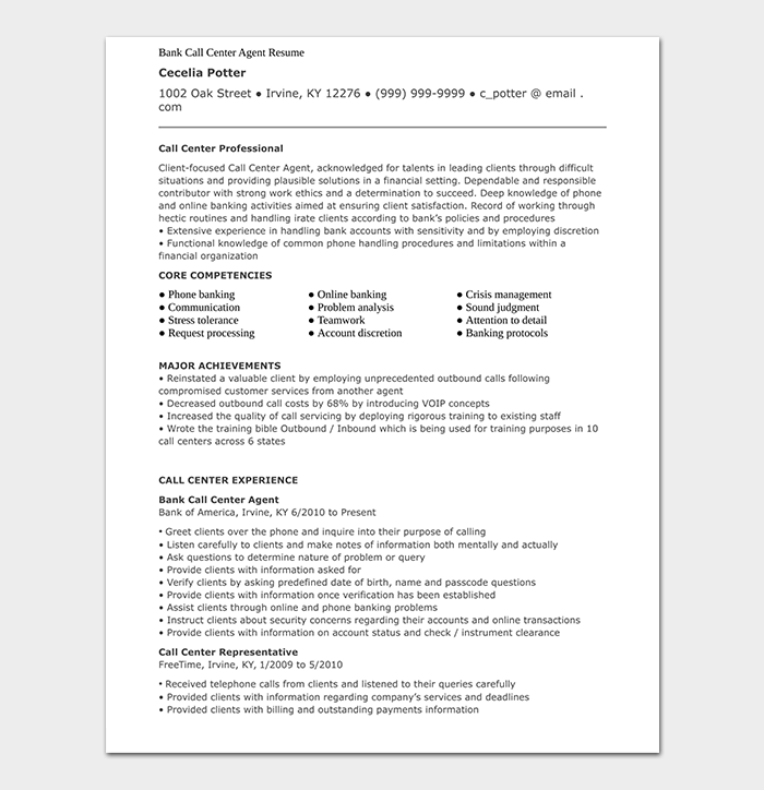 Bank Call Center Agent Resume