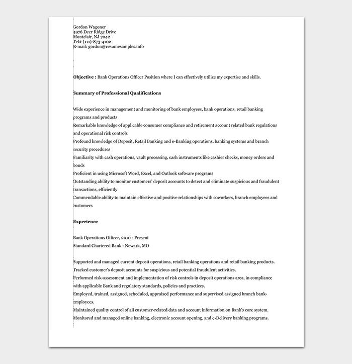 Banking Operations Executive Resume