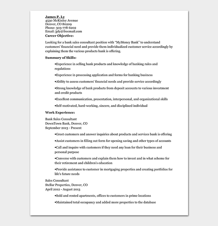 Banking Sales Consultant Resume