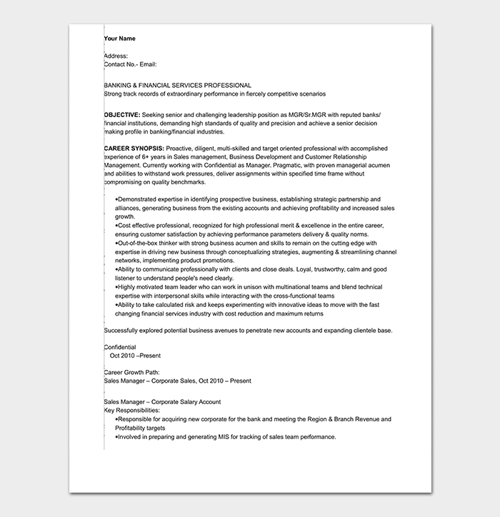 Banking Sales Executive Resume