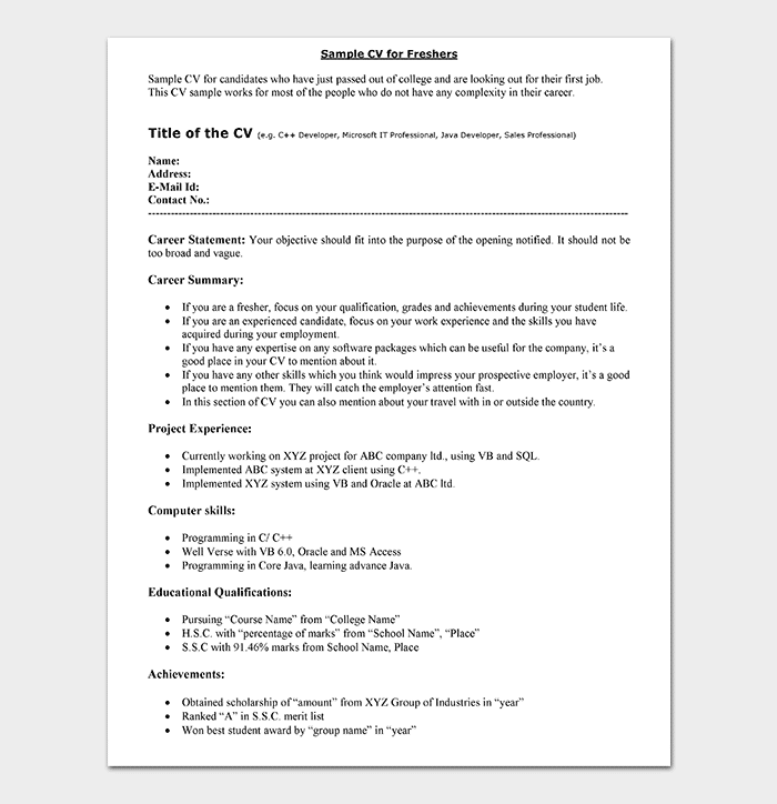 Fresher Resume Template 10 Samples Examples Formats