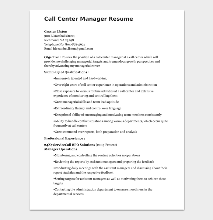 Call Center Manager Resume