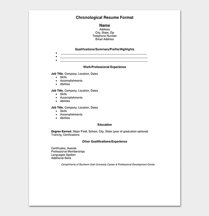 Chronological Resume Work Experience