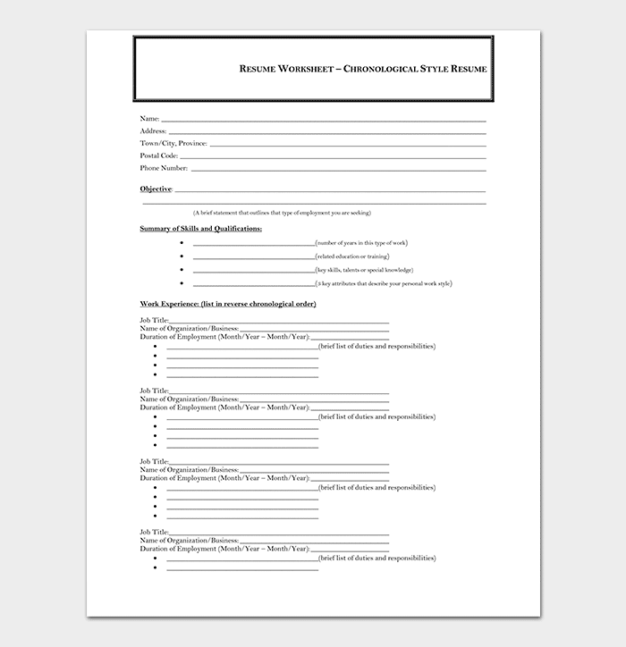 chronological resume template 19 samples examples
