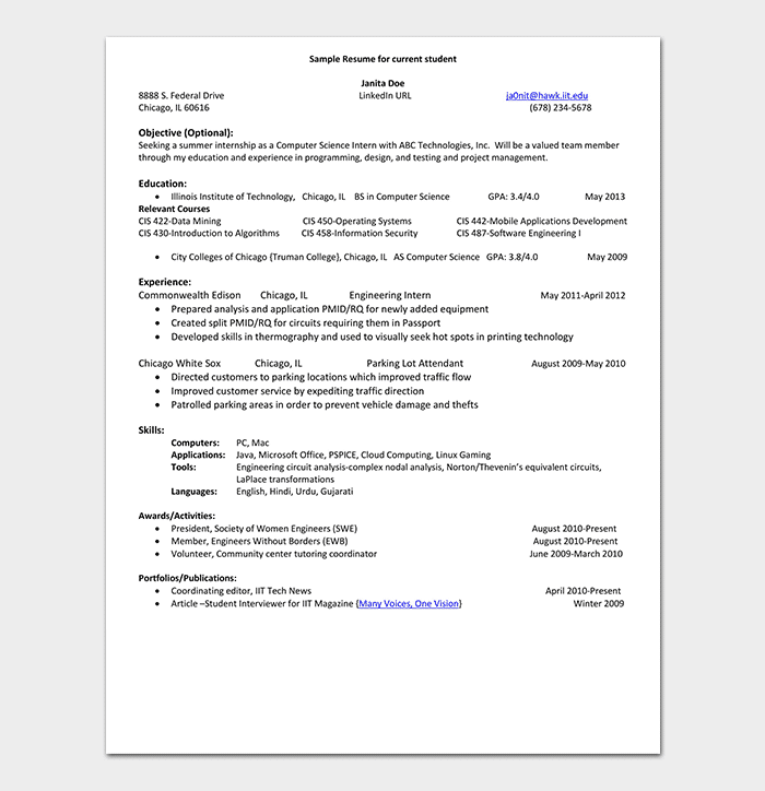 Internship Resume Template 18 Samples Examples