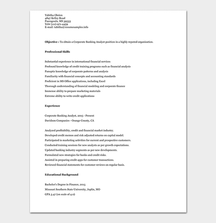 Corporate Banking Analyst Resume