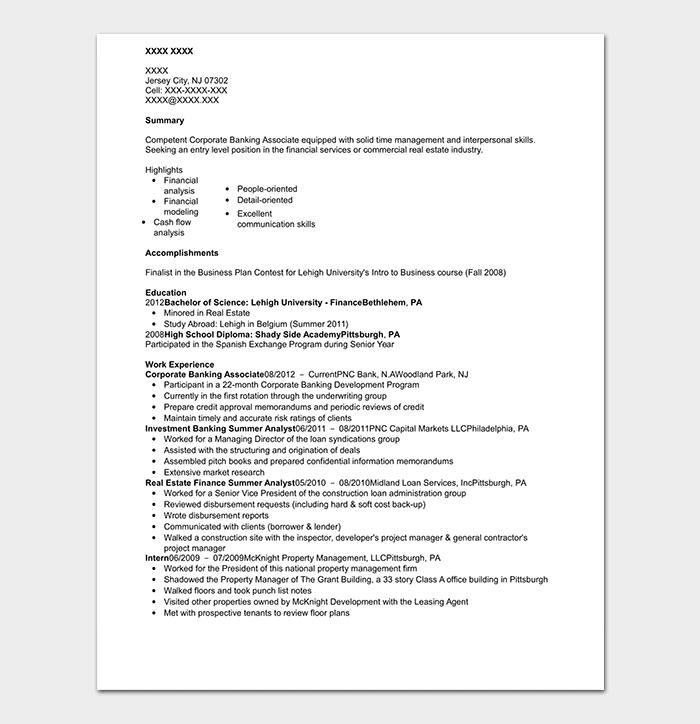 Corporate Banking Associate Resume