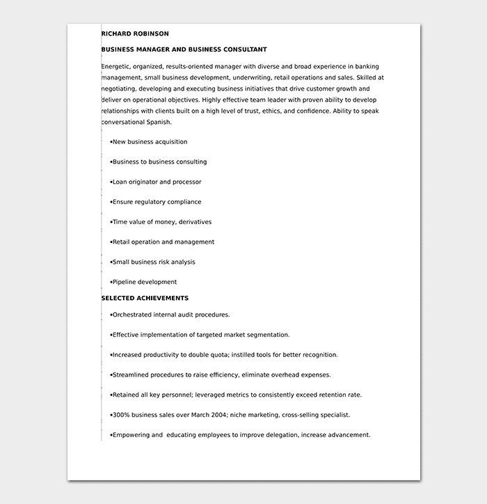 Corporate Banking Manager Resume