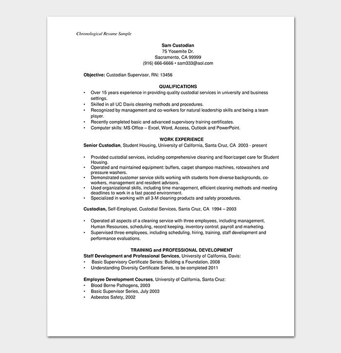 Custodian Supervisor Chronological Resume