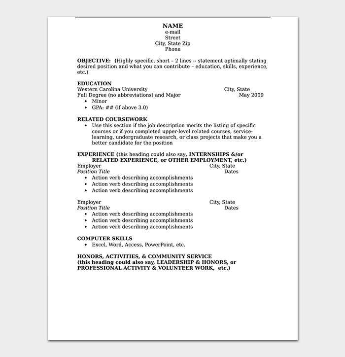 Customer Service Chronological Resume Template