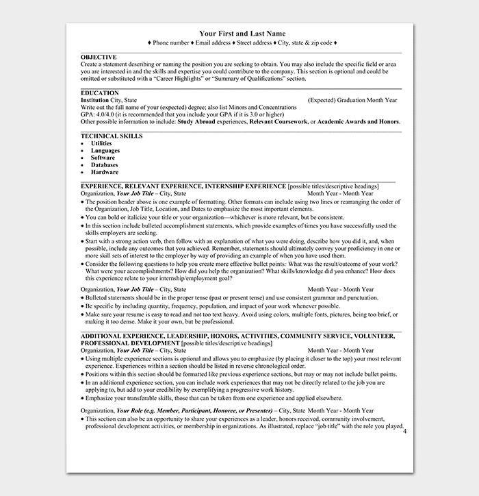 Entry Level Chronological Resume