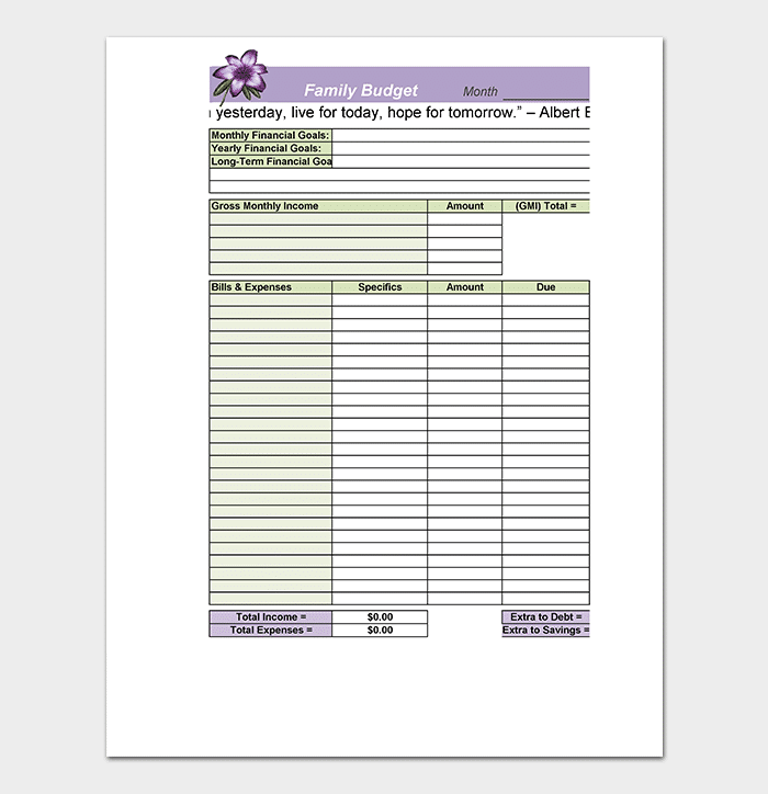 family budget summary template excel