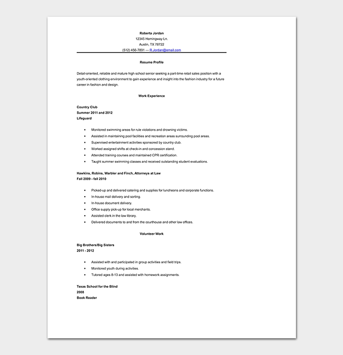 High School Resume Template 10 Samples Formats