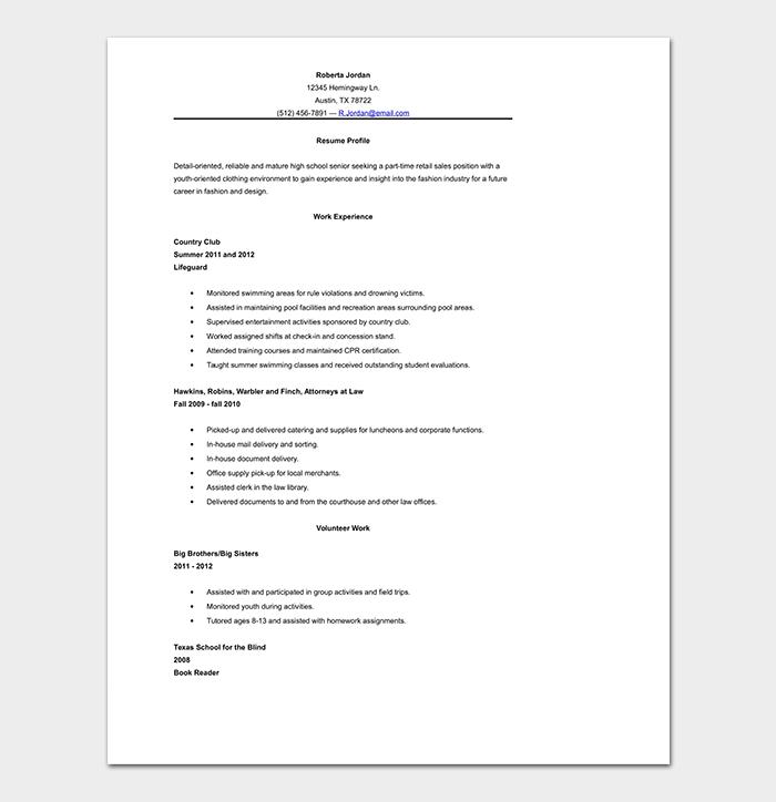 High School Resume Template Word