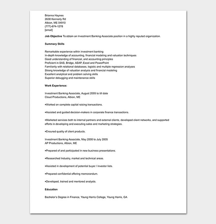 Banking Resume Template - 34+ Samples & Examples
