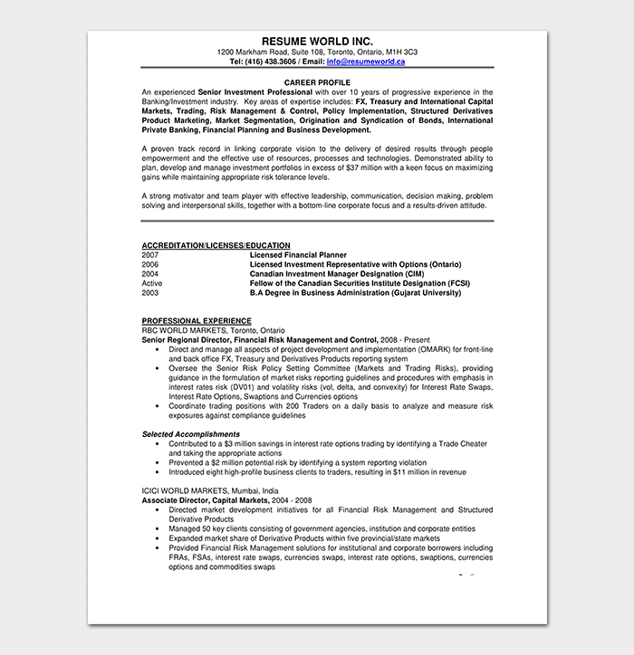 Investment Banking Manager Resume
