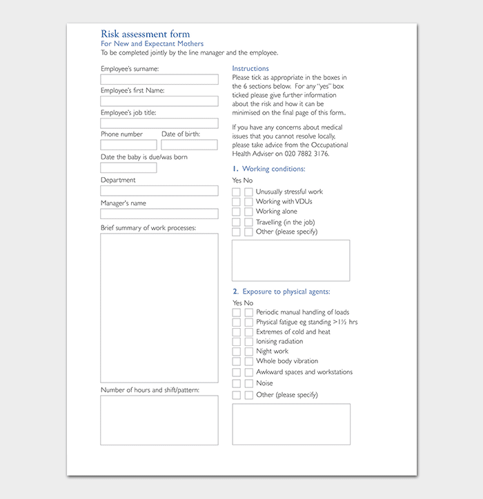 Maternity Risk Assessment Form