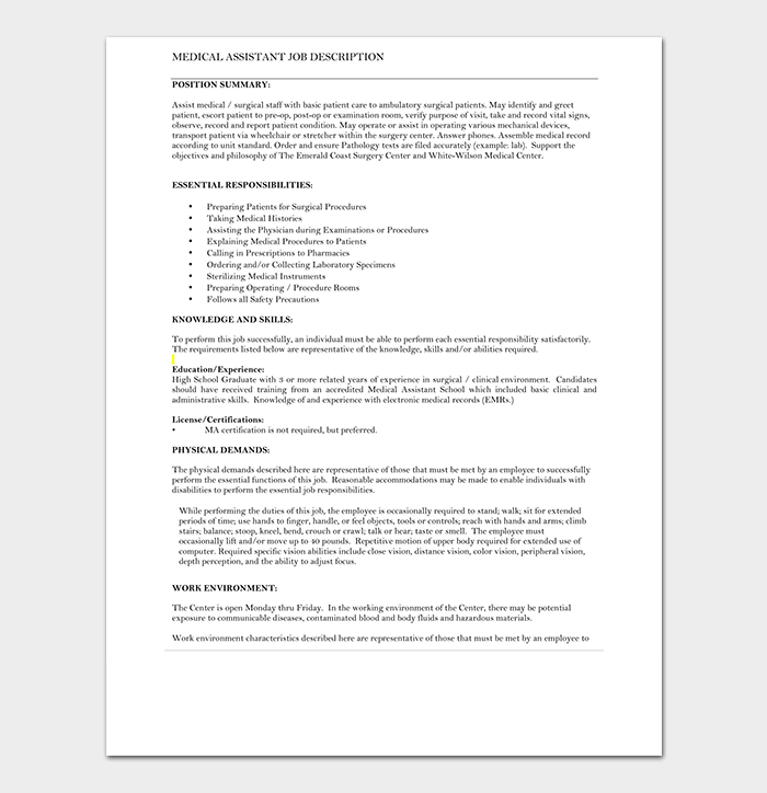 Medical Assistant Job Description Resume