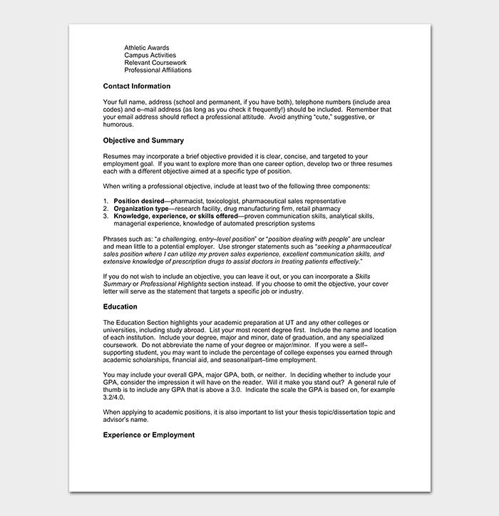 Pharmacy Chronological Resume