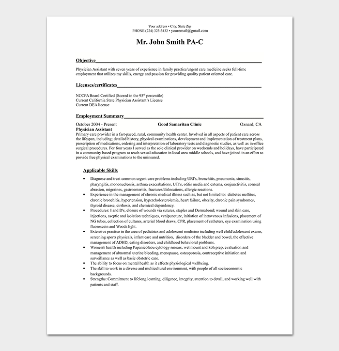 Physician Assistant Resume Template
