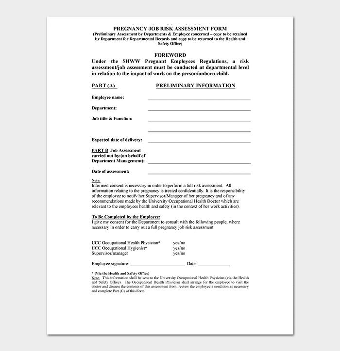 Pregnancy Job Risk Assessment Form
