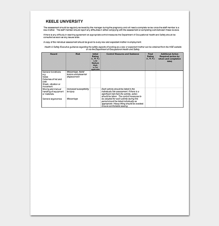Pregnancy Risk Assessment Form DOC