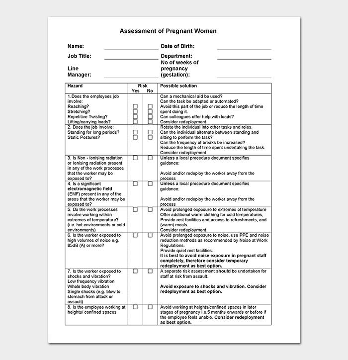 Pregnancy Risk Assessment Form for Staff