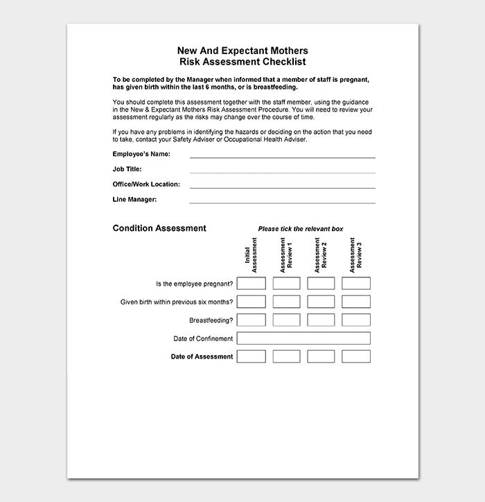 Pregnancy Risk Assessment Form