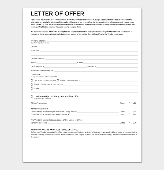 Real Estate Agent Offer Letter PDF
