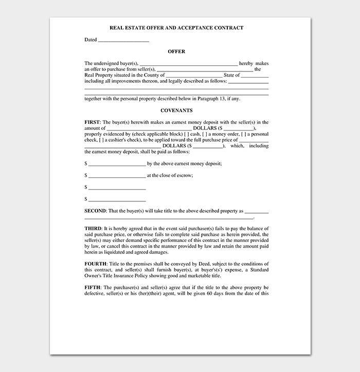 Real Estate Offer Acceptance Letter