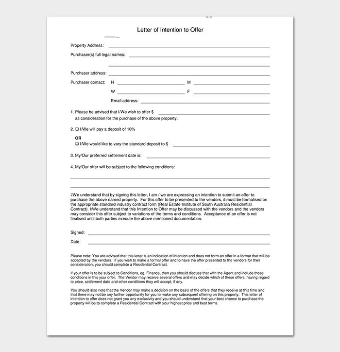 Real Estate Offer Letter Format