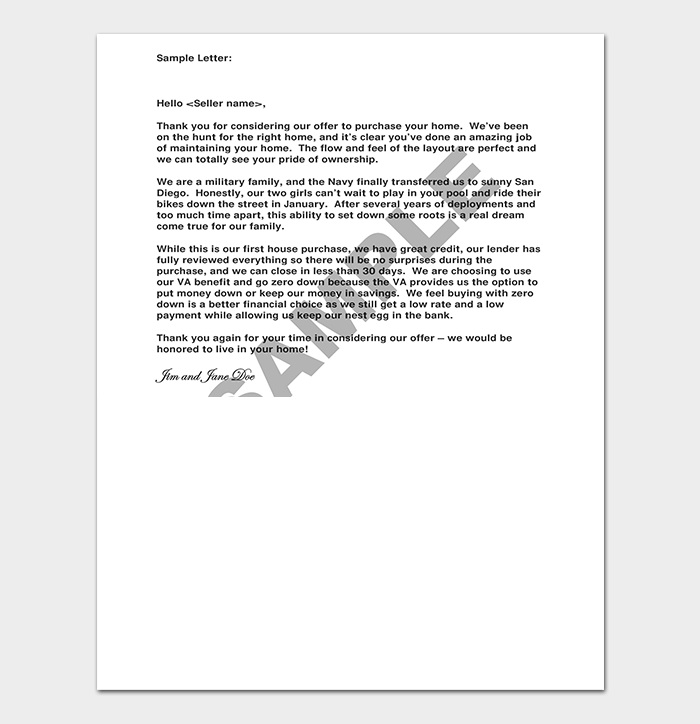 Real Estate Offer Letter to Seller