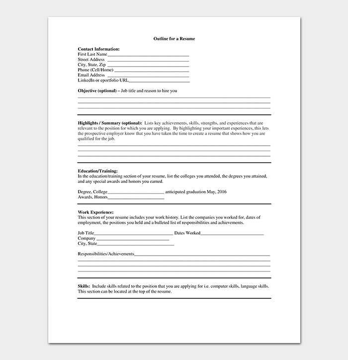 resume outline template free formats examples amp samples
