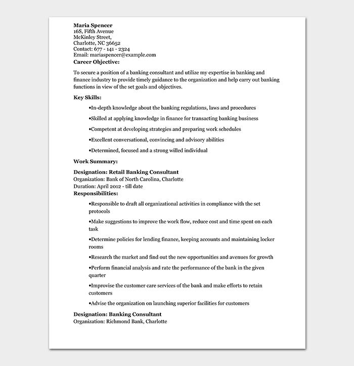 Retail Banking Consultant Resume